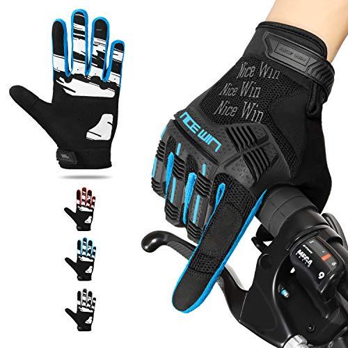 Kansoom Fahrradhandschuhe voller Knöchelschutz atmungsaktive-Silikonpolster Bildschirm mit den Fingern berühren - geeignet für schweres Fahren, Mountainbiken, Motorradrennen (Blau, M)