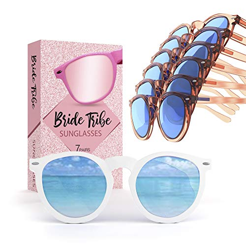 Bride Tribe Sunglasses Rose Gold Set of 7 | Bachelorette Sunglasses for Bridesmaid Proposal Box & Bridal Shower Decorations Kit | Bachelorette Party Favors & Wedding Bridesmaids Gifts Glasses