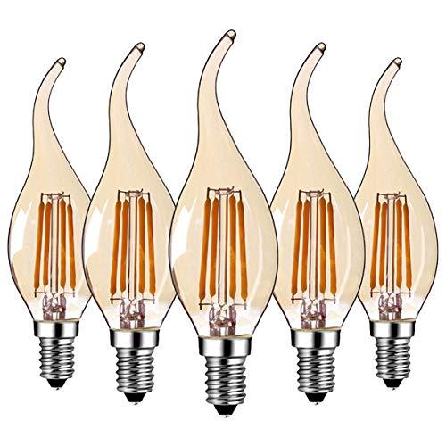 5 Stück C35 LED E14 Kerze Lampe 4W,LED Filament Glühlampen,Warmweiß 2700K,AC 220V, Nicht Dimmbar,Amber Glas