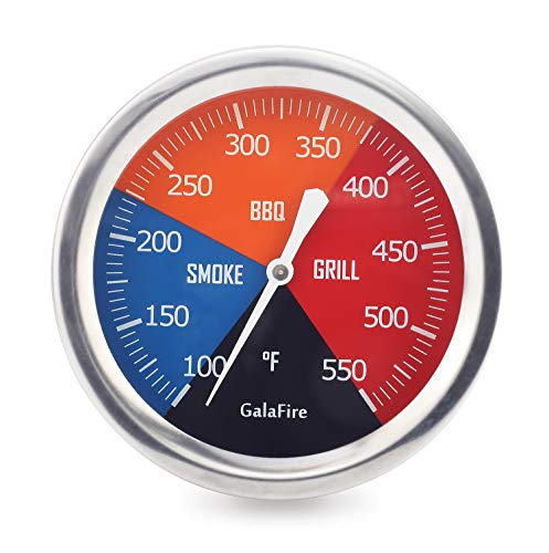 GALAFIRE 2 6/8 inch Grill Thermometer for Grilling, Wood Smoker Charcoal Grill Pit BBQ Temperature Gauge and Heat Indicator for Meat Cooking