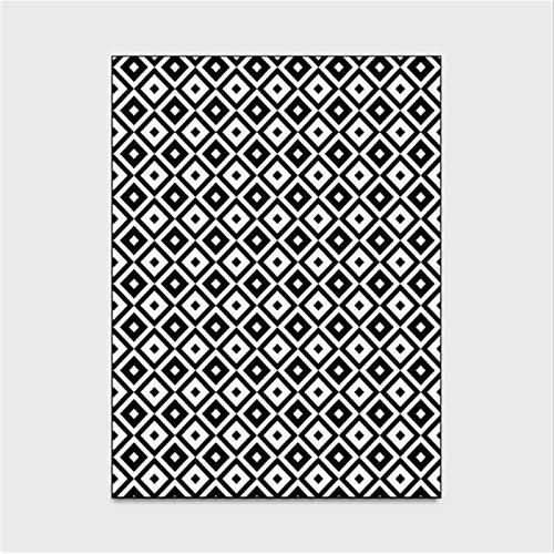 artkingdom Alfombra tapetes Sala de Estar Dormitorio en casa Simple combinación de Diamantes en Blanco y Negro decoración Antideslizante para Dormitorio Tamaño 80 * 160 cm