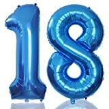 Foil Globos Numeros Gigantes 18 Azul 101 CM Globos de Cumpleãnos 18 Grande Globos Número 18 para Decoraciones Cumpleãnos Fiestas Boda Aniversario Hinchable (18)