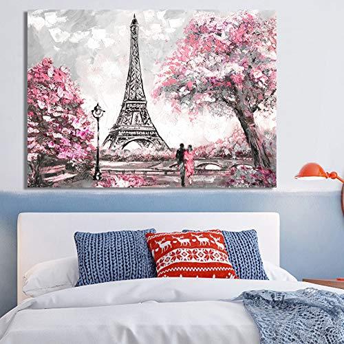 ganlanshu Abstraktes Landschaftsplakat auf Leinwandkunstölgemälde New York und Pariser Stadtwohnzimmerdekorationsmalerei,Rahmenlose Malerei,50X75cm