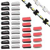 Clip de soporte de montaje de luz de tira LED autoadhesiva de 40 paquetes,sujetadores de cable organizador de alambre Soporte de abrazadera de gestión cables para el hogar de la oficina del vehículo