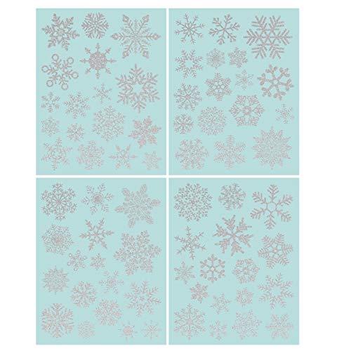 NICEXMAS 68 Funkeln Fensterdeko Schneeflocken Fensterbilder Schneeflocken - Statisch Haftende PVC Aufkleber