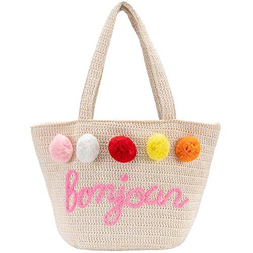 Bolsa de playa para mujer, bolsa de hombro trenzada, bolso de mano para mujer, grande, cesta de la compra, bolsa de la compra, con lindo punto de lana, verano, compras, vacaciones