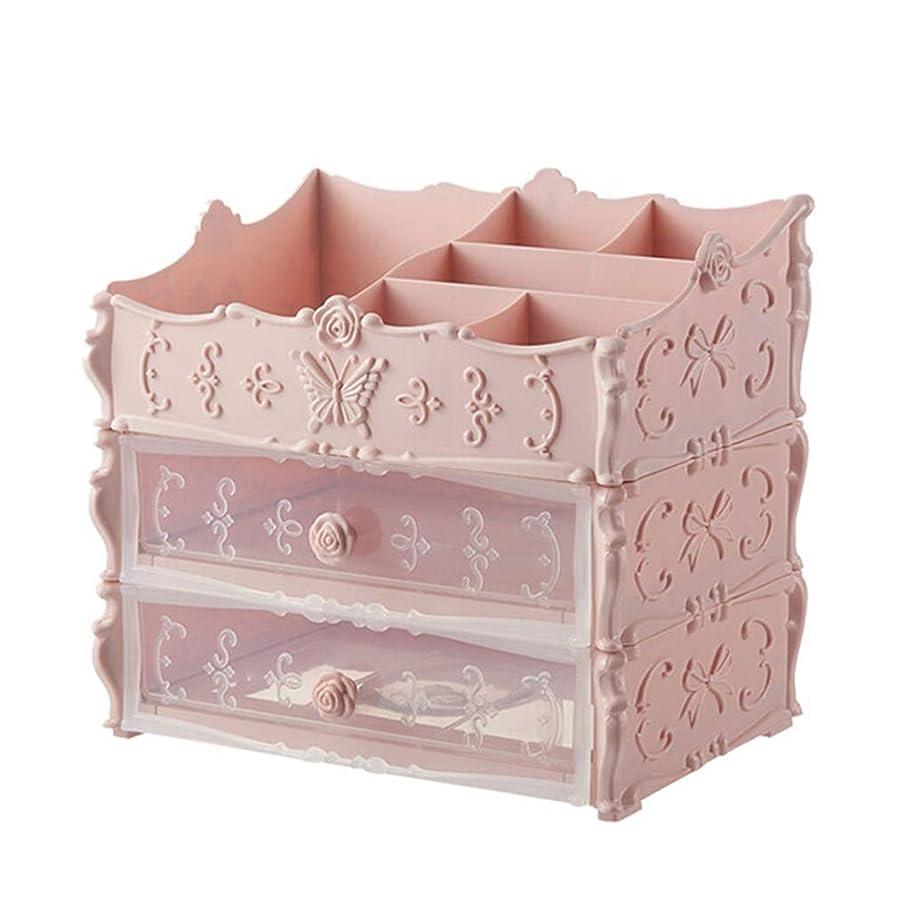 安全性動機なぜオーガナイザー収納引き出し、化粧ブラシ用パレットブラシ口紅マニキュアヘアピンを構成ピンクの寝室/浴室/部屋/あなたの人生に便利(サイズ:2層)