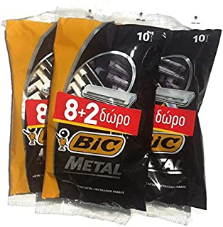 30 Bic Metal Men's Disposable Razors Single Blade Stainless Steel 8+2 10-count (3 Packs of 10)