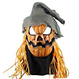 Pumpkin head mask villain Halloween Vamapire Masquerade Scary Latex Monster party Cosplay