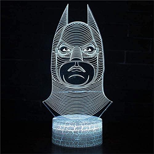 Batman 3D ilusión óptica noche luz niños noche dormitorio 16 colores luz de aire caliente globo noche luz para cumpleaños vacaciones decoración regalo