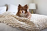 """MONKSIE Luxury Chunky Knit Blanket with Plush Chenille Knitted Fabric, 47"""" x 59"""", Soft and Warm Decorative Throw for Living Room, Bedroom, and Home Decor (Oatmeal Light Beige, Off-White)"""