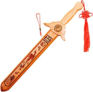 朱砂桃の木剣、道士の鎮宅のペンダント、正統の中国の風水の桃木の剣、魔よけ 七星剣 刀剣 邪気 払い 陰陽 北斗七星 (ドラゴンとフェニックス)