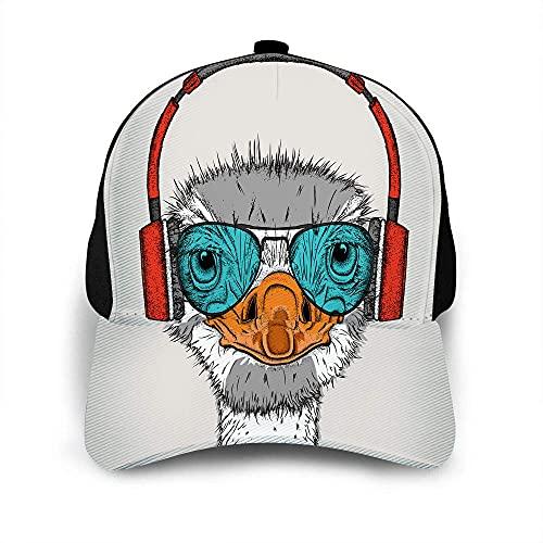 VJSDIUD Genial Sombrero de Avestruz Gorra de béisbol para Hombres, Mujeres, Lindo Animal en Auriculares con Gafas Verdes, Gorra de béisbol Hipster, Sombreros Ajustables Unisex
