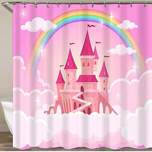 KGSPK Duschvorhang,Schloss Princessflying Tale Palace Feen Wolken Magic Fairytale Royal Palace Himmel,Wasserfeste Bad Vorhang aus Polyestergewebe mit 12 Haken Duschvorhang 180x180cm