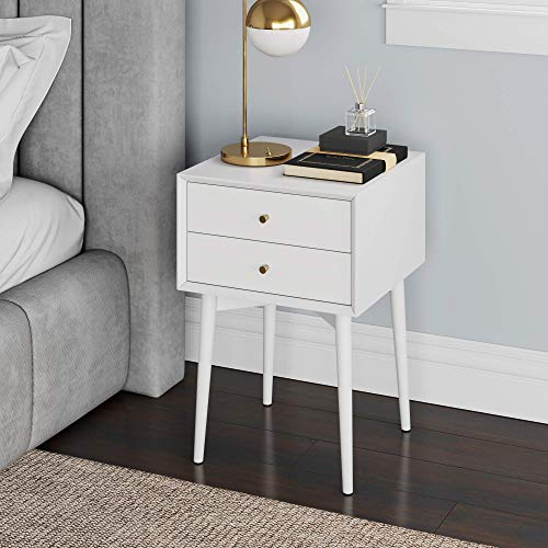 Nathan James Harper Mid-Century Modern Side Table, 2-Drawer Wood Nightstand, White