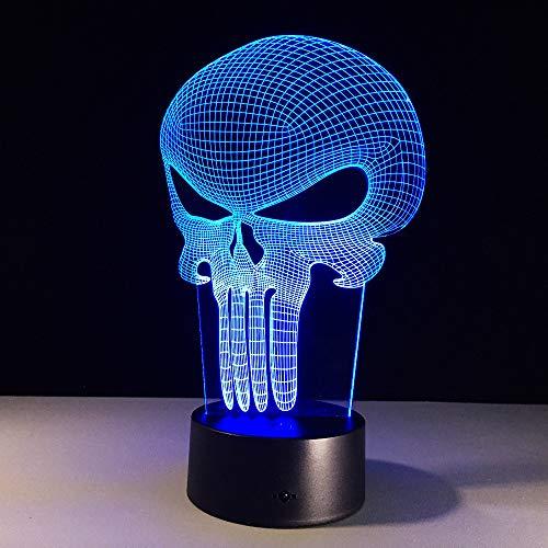 Mddjj 3D Led Night Light Punisher Skull Multi-Colored Bulbing Light 7 Color Change Acrylic 3D Hologram Illusion Desk Lamp For Kid Gift Schlafzimmerdekoration