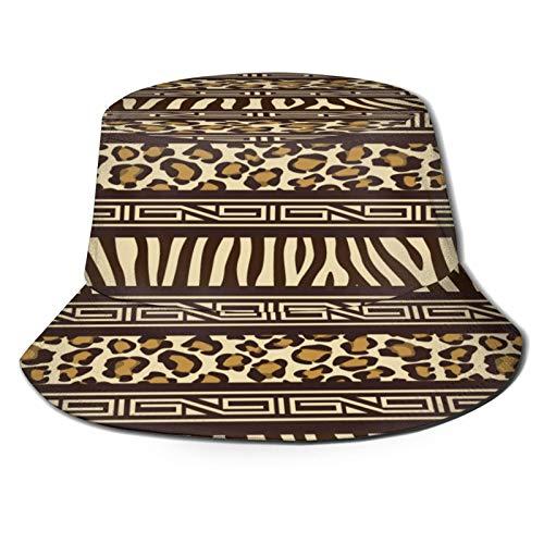 Sombrero de Pesca,Patrones Sin Fisuras Estilo Africano con Animales Salvajes,Senderismo para Hombres y Mujeres al Aire Libre Sombrero de Cubo Sombrero para el Sol