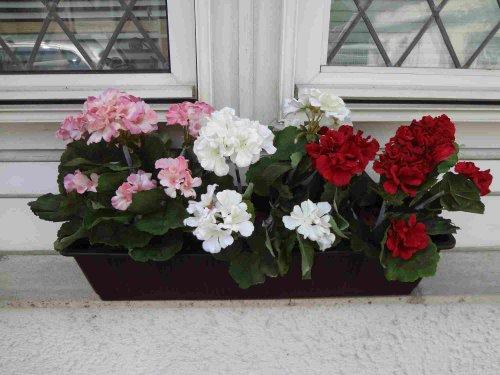 künstliche Geranien x 3 im 60 cm.Balkon- Kasten,braun
