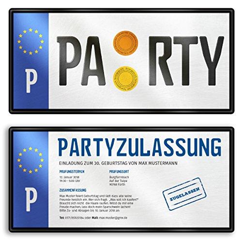 (10 x) Einladungskarten Geburtstag Nummernschild Auto Schild Plakette Einladungen