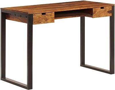 Schreibtisch Konsolentisch Jolanta Massivholz Sheesham Metall natur schwarz