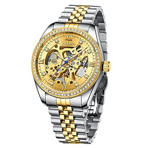 Relojes mecánicos automáticos de acero inoxidable con mecanismo de cuerda automática, de lujo, impermeable, con esfera de diamante, reloj de pulsera para hombres