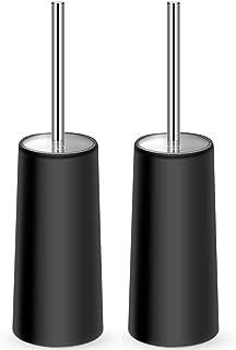 IXO Toilet Brush and Holder, 2 Pack Toilet Brush with 304 Stainless Steel Long Handle, Toilet Bowl Brush for Bathroom Toilet-Ergonomic, Elegant,Durable(Black)