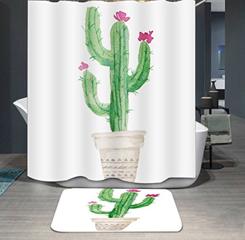 Ommda douchegordijn, textiel, waterdicht, antischimmel, planten, digitale print, wasbaar met 12 douchegordijnringen 100x200cm Potplanten C