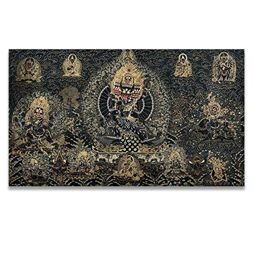 Carteles Antiguos Thangka Buda Tibetano India Estilo De Religión China Impresión De Lienzo Cuadros De Pintura Sala De Estar Arte De La Pared Decoración del Hogar 60X100Cm Sin Marco