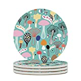 Perstonnoli Posavasos redondos de cerámica con parte posterior de corcho, 4 unidades, para vasos, jarrones, velas, 10 cm, color blanco, 6 unidades