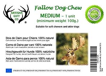 ARTISAN GIFT CO Bois de Daim pour Chien a Mâcher 100% Naturel et Écologique - Taille Moyenne (M) (1 Unité)