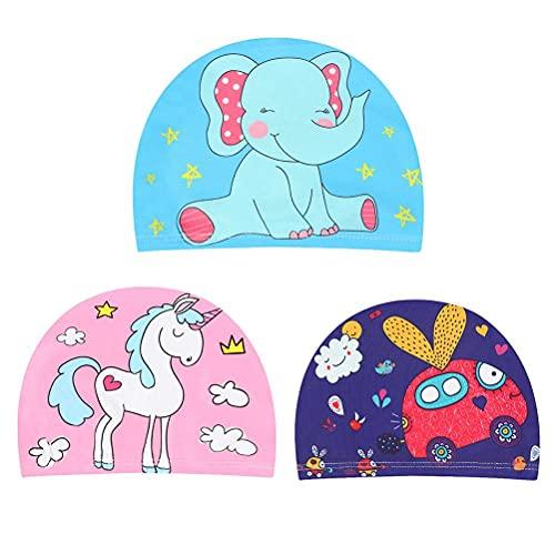 Gazaar Paquete de 3 gorras de natación, lindas gorras de baño para deportes acuáticos, suaves a prueba de fugas protección UV sombreros de natación para niños jóvenes y niñas