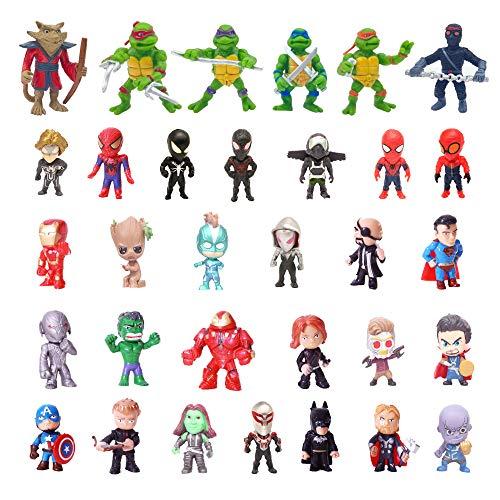 Superhero Mini Action Figures Sets for Kids, Cupcake Toy Set to Birthday Party, Boy's Anime Hero Figures Set, Theme Party Dress up Toy (32-SPSET)