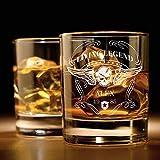Smyla Whiskyglas mit Gravur (Totenkopf-Design) | Whiskey-Glas mit massivem Boden personalisierbar mit Namen und Datum | Geschenkidee für wahre Geniesser
