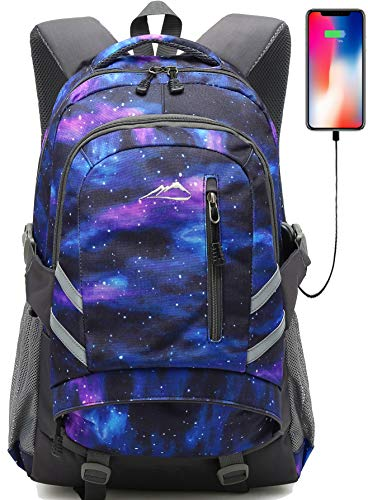 Galaxy Backpack Bookbag for School College Student Travel Business with USB Charging Port Fit Laptop Up to 15.6 Inch Anti theft Night Light Reflective Chest Straps (Galaxy Style C)