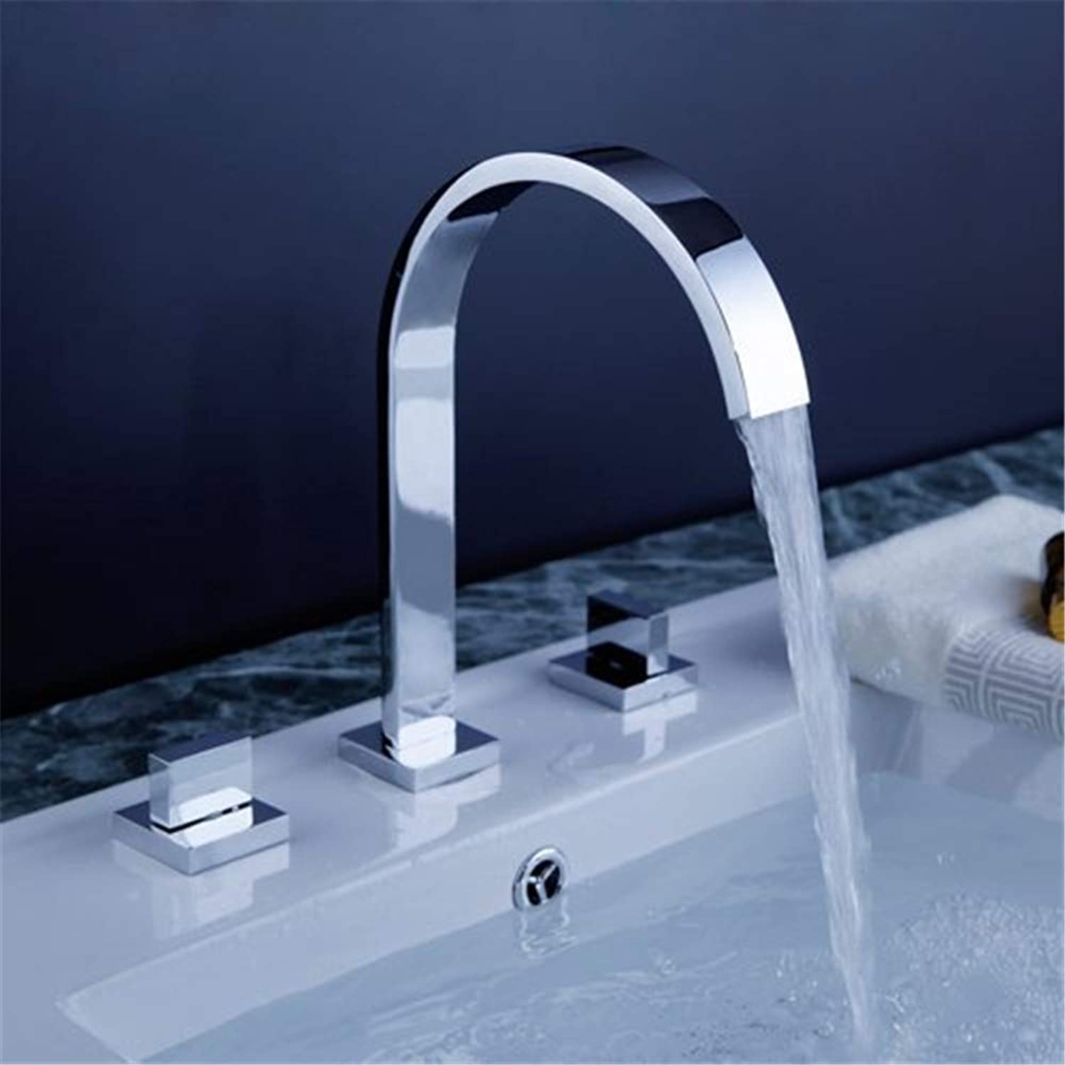 YBHNB Bathroom Sink Taps, Fashion Basin Faucets Brass Polished Chrome Deck Mounted Square 3 Hole Double Handle Hot And Cold Mixing Faucet