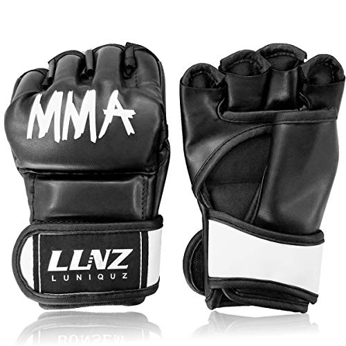 Luniquz MMA Gloves for Kids Adults Punching Bag Boxing Sparring Grappling, Half Finger with Thick Padding Long Wrist Wrap, S/Black