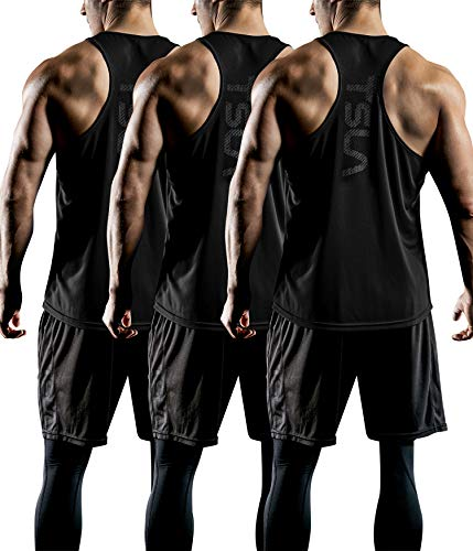 TSLA Men's 3 Pack Workout Muscle Tank Sleeveless Racer Y-Back Gym Training Cool Dry Top MTN33,...