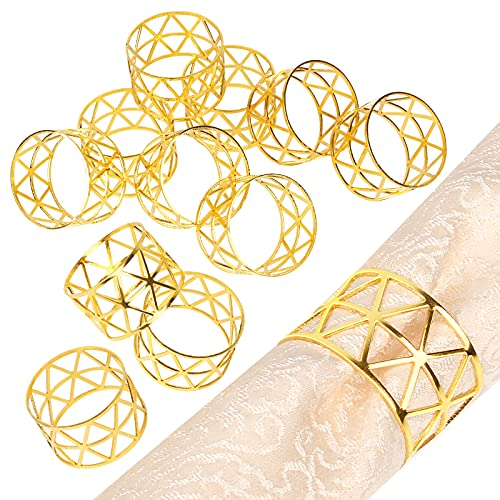 HowcanDa Set of 12 Gold Napkin Rings, Upgrade Sturdy Metal Napkin Rings Holder Triangular Hollow-Out Design Napkin Ring for Halloween Christmas Wedding Dinning Table Decoration Setting