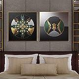 Impresiones en lienzo nórdico y póster abstracto geométrico línea dorada pintura artística arte de la pared sala de estar decoración del hogar imagen 45x45cm (17.7x17.7in) x2 sin marco