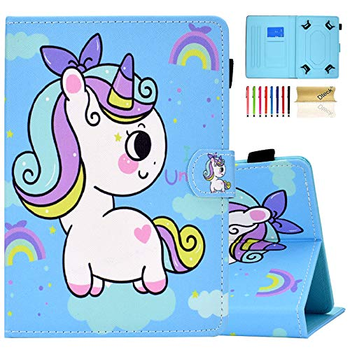 Dteck Tablet Universal Case 7 Inch, Leather Wallet Stand Flip Cover Case for Samsung Galaxy Tab/HDX 7 /HD 7/ Oasis/Onn/Lenovo/Dragon Touch/Vankyo MatrixPad/Android Tablet 7 Inch, Unicorn Angel