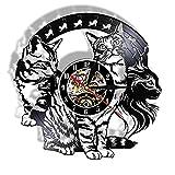 Nfjrrm Reloj de Pared con Registro de Vinilo para Gatos, Amante...