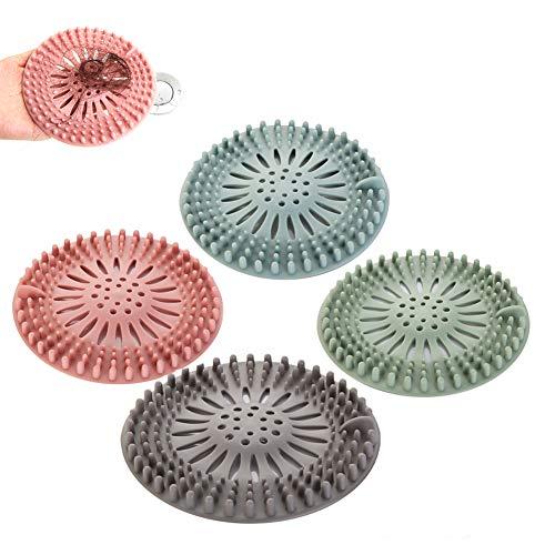 4 piezas de filtro para el cabello de silicona, protector de drenaje de goma universal para lavabo de la bañera, cocina, baño, filtro para el cabello