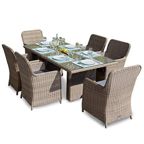 Green Spirit - Garten Sitzgruppe Ria 13 TLG. - Braun, Polyrattan, für 6 Personen, Sicherheitsglas, Wetterfest, Gartenmöbel-Set mit Tisch und 6 Sesseln