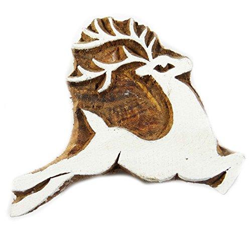 IBA Indianbeautifulart Designer-Textilblock auf traditionellem Druckholzstempel des Gewebe-Rotwild-Musters