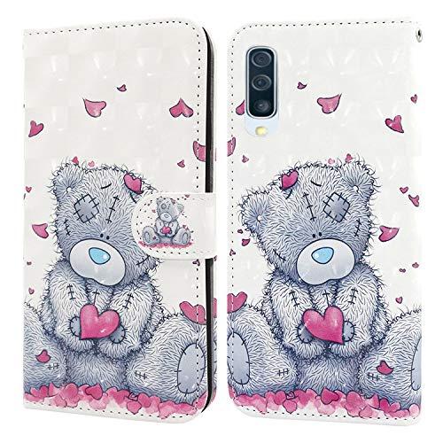 Ailisi Samsung Galaxy A50/A30s/A50s Hülle Teddy Bear 3D Muster Handyhülle Schutzhülle PU Leder Wallet Case Flip Case Klapphüllen Brieftasche Ledertasche Tasche Etui im Bookstyle