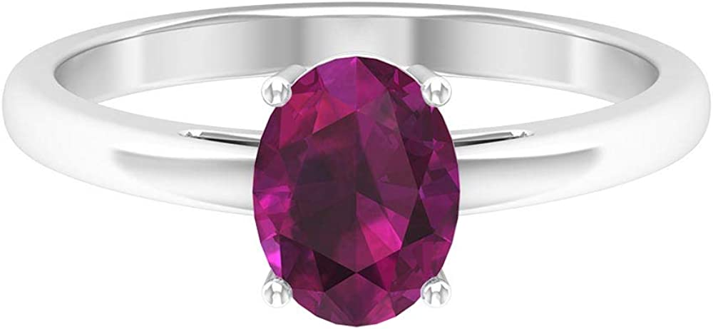 June Birthstone - 8X6 MM Oval Cut Rhodolite Ring, Solitaire Engagement Ring, Simple Gold Wedding Ring (AAA Quality), 14K Gold