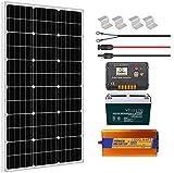 ECO-WORTHY Sistema solar completo de 120W 12V fuera de la red con batería e inversor: Panel solar de 120W + Controlador de carga + Batería de 100AH + Inversor de 1000W 220V