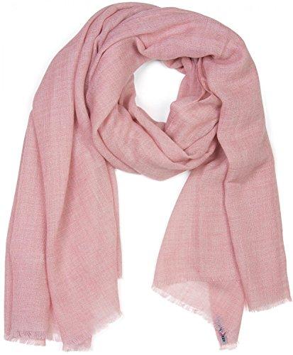 styleBREAKER unifarbener Schal in Jute Web-Optik mit kleinen Fransen, Unisex 01018092, Farbe:Rose