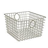 Spectrum Diversified Teardrop Large Wire Basket, Steel Versatile Storage & Organization Utility Tote, Cube Storage Bin for Home Organization, Satin Nickel