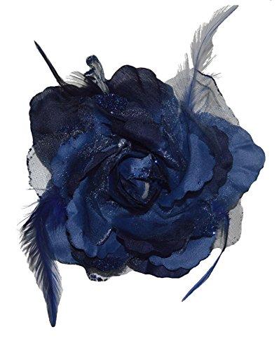 Accessoires & Schmuck Haarschmuck mit Federn Haarblume Ansteckblume Ansteckblüte Glitzer Hochzeit Karneval (Marineblau)